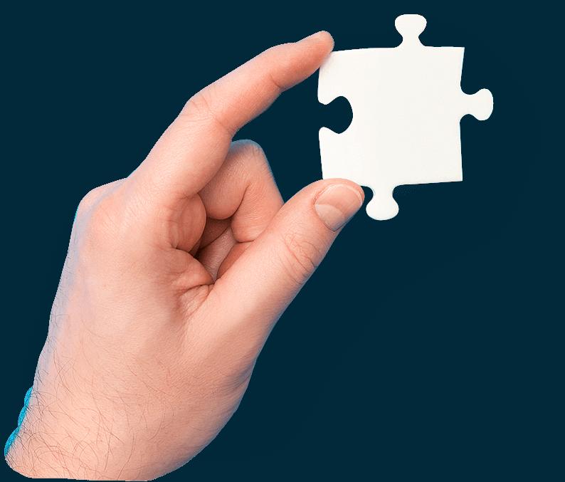 Hand mit Puzzle